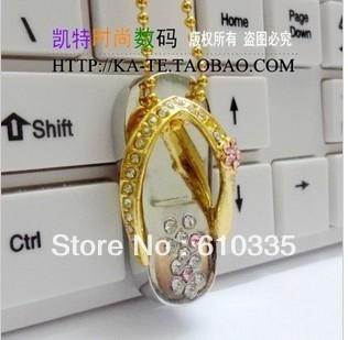 WholesaleFull Capacity 4GB/8GB/16GB/32GB New crystal slippers USB Flash Memory Drive Stick/Pen/Thumb