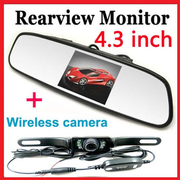 4.3 inch Mirror Monitor Wireless IR night vision Car Rear View Back UP Parking Reversing Camera System(China (Mainland))