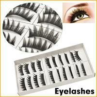 Natural High Quaility 1box 10 pairs Long Warped Fine Beautiful False Eyelashes Fake Extension Eyelash