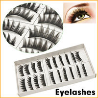 Natural High Quaility 1box 10 pairs Long Warped Fine Beautiful False Eyelashes Fake Extension Eyelash Free Shipping