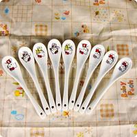 Hello Kitty Porcelain long handled Spoon Kid Children Gift Cartoon Milk Tableware Cooking Tools cozinha colher Tea Spoon