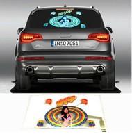 Free Shipping! 45x25cm HIPHOP Girl Music Design Activated car sticker equalizer glow EL LED light Flashing Car Music rhythm lamp
