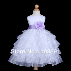 2013 WHITE/PLUM PURPLE WEDDING PICK UP FLOWER GIRL DRESS(China (Mainland))