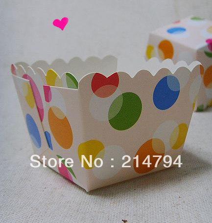 Free Shipping 200pcs Muffin Cupcake Square Baking Cups Cake Greaseproof Case 4.5*4.5*4.5cm Coloured Dot Baby Shower Decoration(China (Mainland))