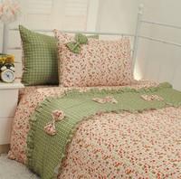 Polka dot princess bedding pink single bed 100% cotton child bedding sets 4pcs-Free shipping-FedEx