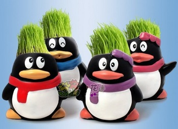 Gift penguin cute Hair man Plant Bonsai Grass Doll Office Mini Plant Fantastic Home Decor pot  ZF100