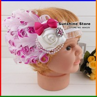Sunshine store #2B2230 retail 1 pcs baby headband hot pink diamond rhinestone bow feather headband rose flower pearl free CPAM