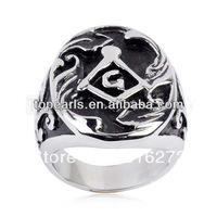Topearl Jewelry 3pieces Carved Black Enamel Masonic Emblem Stainless Steel Ring MER05-16