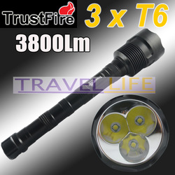 1PC Trustfire 3T6 Flashlight 5 Mode 3800 Lumens 3x CREE XM-L XML T6 LED Flashlight18650 Battery Extendable High Power Torch(China (Mainland))