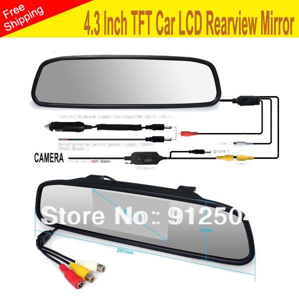 4.3 Inch TFT Car Monitor Mirror View Rearview Auto LCD Screen Backup Camera for Car Reversing Record(China (Mainland))
