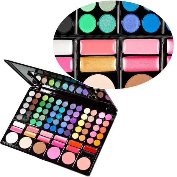 Beauty Products 78 Color 3# Eyeshadow Cheek Blush Pressed Powder Lip Gloss Make Up Set With Mirror Eye Shadow(China (Mainland))