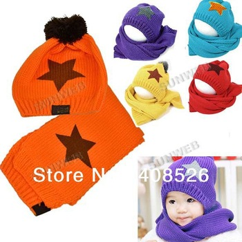 FREE shipping Autumn winter Unisex Wool children's hat scarf set star print baby hats free shipping 8049