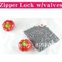 Zipper lock bags with vacuum valves