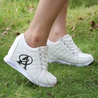 Hot Sales new 2014 Black White woman Hidden increased Wedge Heels shoe Rhinestones Elevator Casual shoes Women Sneakers