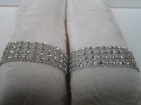 Free shipping table decoration silver rhinestone ribbon napkin rings wedding & party decoration