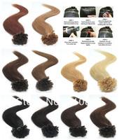 "Free Shipping 18""/45cm 100Pcs 50g 100% Remy Stick U Nail Tip Human Hair Extensions Brazilian Virgin"