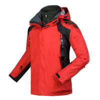 HOT  sale High Quality Men's Outdoor Double Layer 2in1 Waterproof Climbing Skiing Jackets Sportwear