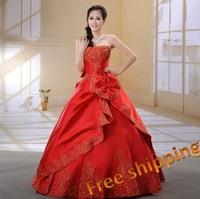 The bride wedding dress formal dress 2013 new arrival red   wedding dress