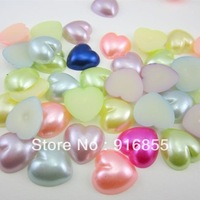 Free Shipping 500pcs 14mm mixed color heart shape Flatback ABS imitation pearl beads for DIY decoration