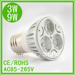 9w Cree spotlight E27 AC85-265V silver die- cast alumium lamp cup energy-saving lamp pure white/warm white Cree light/led bulb(China (Mainland))