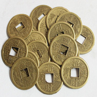 "Free Shipping! 50pcs Feng Shui Coins 0.9"" 2.4cm Chinese Fortune Lucky Alloy Coin Double Dragon Money"
