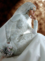 Extravagant High Neckline Heavily Beaded A Line and Sweep Train White Fashion Arab Muslim Islamic Wedding Dress