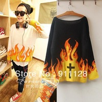 2013 ayumisong savce HARAJUKU fashion flame cross sweater