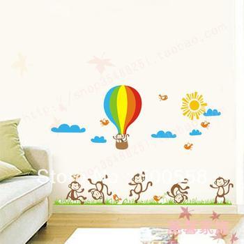 DIY Little monkey cartoon sticker kids home room decor pvc stickers 135*90cm Removable