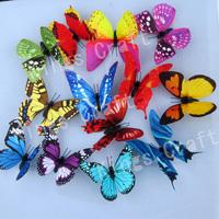 5.5cm  HANDMADE PAINTING 3D SATIN PAPER Artificial Butterflies, Home Garden Decorations