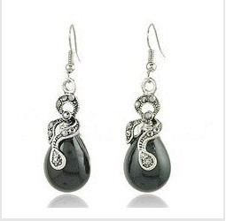 Min.order $10 Wholesale Silver Crystal Drop earrings Silver Wrapped Raindrop Black Crystal Drop Earrings from Yiwu(China (Mainland))