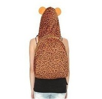 Limited Clearance sale Leopard hooded Backpack Brown Faux Fur