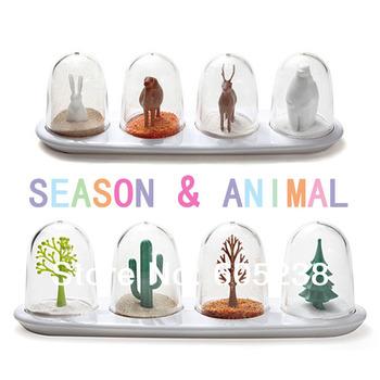 (2 Sets include 8 pieces)  Animal Parade Spice & Seasoning Shakers | animal season shaker