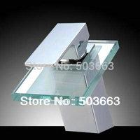 New Chrome Bath Sink Basin Vessel Bathroom Basin Sink Waterfall L-0183 Mixer Tap Faucet