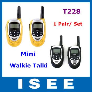 Yellow Black Color 1 Pair (2 pcs) Lovers Talking Mini Walkie Talkie T-228 Interphone Transceiver Two Way Radio Free Shipping