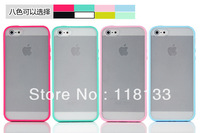 Wholesale - Matte Transparent Back Case Colorful TPU Bumper Frame for iphone 5 5G 5th 100pcs DHL Fast