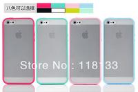 Wholesale - Matte Transparent Back Case Colorful TPU Bumper Frame for iphone 5 5G 5th 100pcs DHL Fast