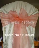 FREE SHIPPING 100 pcs coral chair sashes for wedding organza chair sashes wedding sash