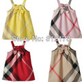 FREE SHIPPING----girl bowknot dress summer wear clothing children sleeveless cotton sundress girl plaid slip dress 1pcs d1605