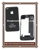Freeshipping for iphone 4s back,Wholesales Black Glass Back Cover with Housing Rear Frame Assembly  For iPhone4s ,Good Quality!
