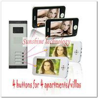 Hot apartments video doorphone intercom systems/door bells  ( 4 keys outdoor camera+4pcs 7inch color TFT LCD ) Free shipping
