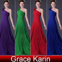 Free Shipping 2014 New Colorful One Shoulder Long Elegant Ladies Formal Evening Dresses Pleated Ball Prom Party Gown CL3467