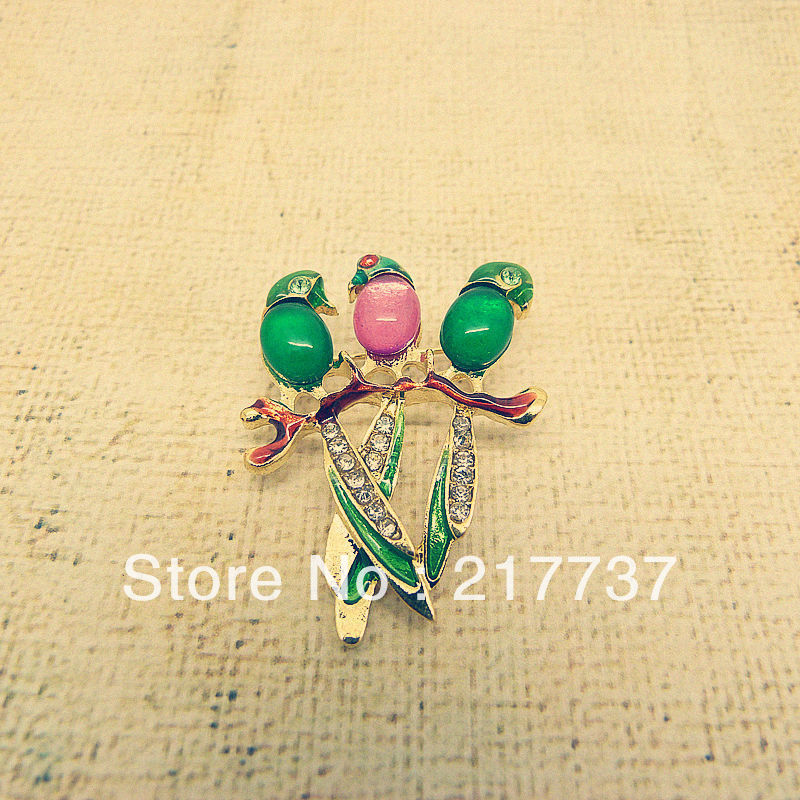 Women's exports European and American the the exquisite personalized fashion retro drop of oil parrot brooch(China (Mainland))