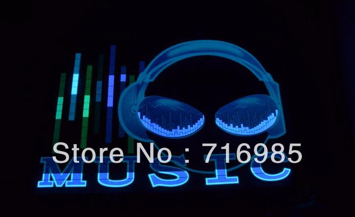 Música New Car Música Rhythm diodo emissor de luz Auto som ativado equalizador Brilho Flash Kit luz Etiqueta Subwoofer (Extra -Terrestrial )(China (Mainland))