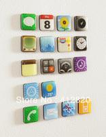 Free  Shipping 200sets/lot APP Magnets iPhone Fridge Magnets APP Icon Refrigerator Magnets18pcs/set