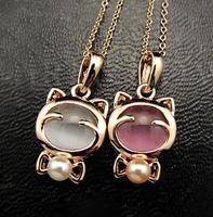 Wholesale Jewelry 12pcs/Lot Fashion Cheap Cute Cat Opal Short Necklace D16R5C
