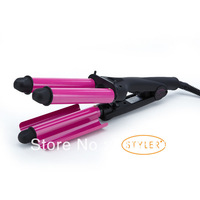 Hot Selling High Quality Suntachi Professional Curling Iron Three Barrel curler Rose Red Fast shipping
