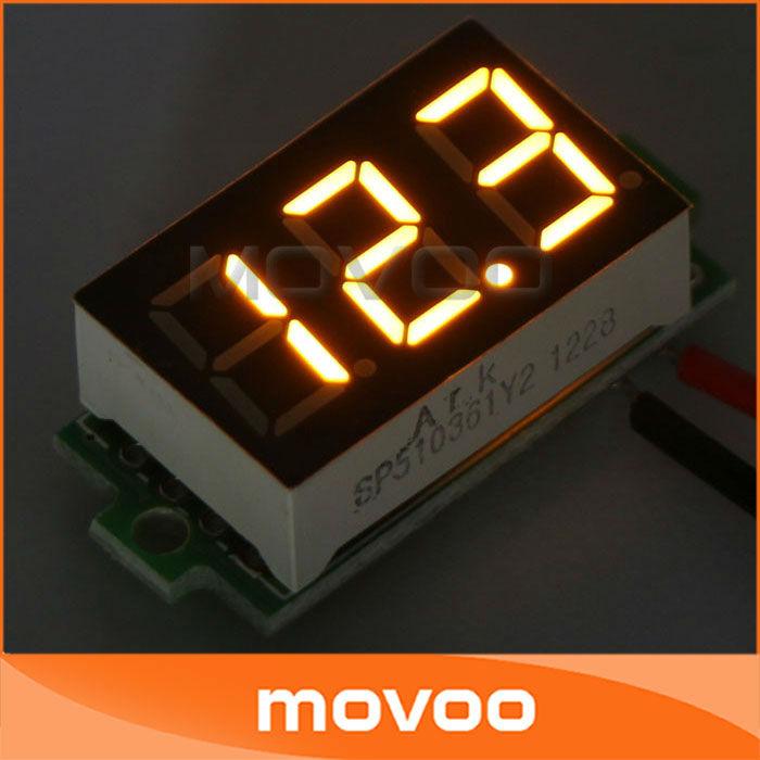Вольтметр Digital Voltmeter Panel 0,36 3.2/30 DC 12/24 090918 # 2 Yellow 0.36 3.2-30V DC Voltage Meter LED
