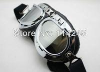 Aviator Pilot Cruiser Motorcycle Scooter ATV Goggle Eyewear T01A Silver Lens
