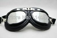 Aviator Pilot Cruiser Motorcycle Scooter ATV Goggle Eyewear T01H Silver Lens