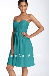 Wholesale 2013 New Sexy Chiffon Knee Length Short Turquoise Bridesmaid Dresses Patterns bd0057(China (Mainland))